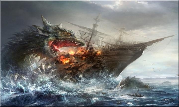 dragon-attacking-a-ship-3d-229881